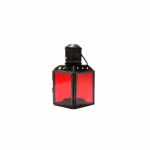 Lanterna de Metal e Vidro Vermelho com Suporte para Velas 6X6X11 cm