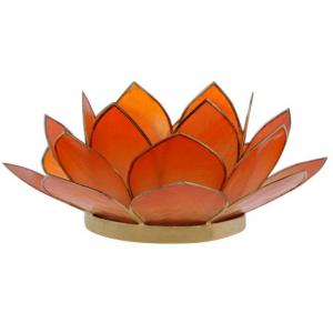Suporte Flor Lotus p/ Vela Madrepérola Laranja 7X15X15CM