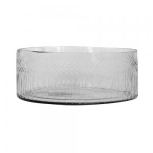 Vaso de Vidro Trabalhado Transparente 30x11cm