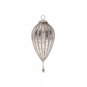 Enfeite Natalino p/ Pendurar Formato Balão em Vidro Metalizado c/ Penduricalhos e Aljofre A20xD9 cm