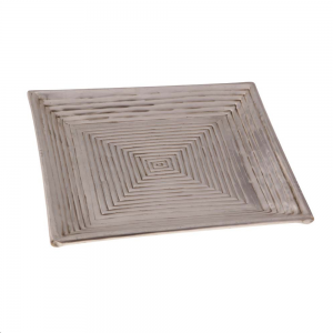 Bandeja Decorativa Quadrada em Metal Bronze Geométrica A2xL27xC27 cm