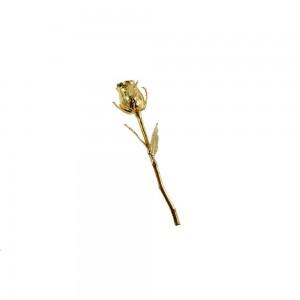 Botão de Rosa Decorativo em Metal Banhado a Ouro A17xC4 cm