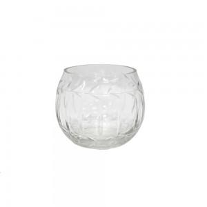 Cachepot em Vidro Transparente Trabalhado A5,5XD5 cm