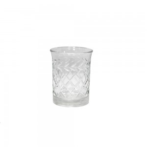 Vaso/Cachepot em Vidro Transparente Trabalhado A8XD6 cm