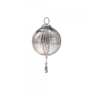 Enfeite Natalino para Pendurar Formato Cone em Vidro Metalizado c/ Penduricalhos e Aljofre A8xL3 cm