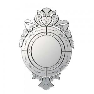 Espelho Veneziano Redondo c/ Borda Espelhadas e Coroa 56X90CM