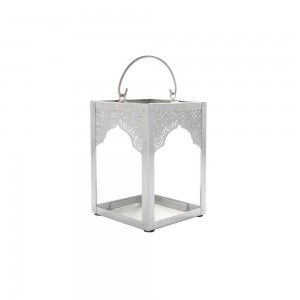 Lanterna de Metal Branco com Vidro – Grande 11X11X16 cm
