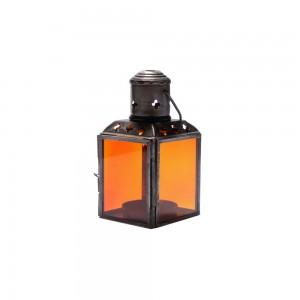 Lanterna de Metal e Vidro Laranja com Suporte para Velas 6X6X11 cm