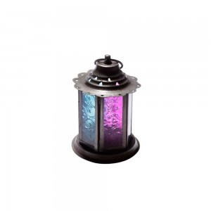 Lanterna de Metal com Vidro Pink e Azul 13x9X9 cm