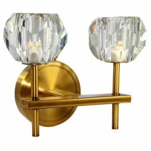 Luminária Arandela de Parede em Metal Dourado e Vidro Duplo 25X18X12 cm