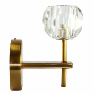Luminária Arandela de Parede em Metal Dourado e Vidro 18x12 cm