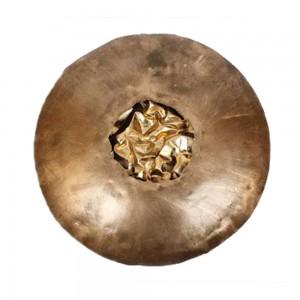 Mandala Decorativa p/ Parede em Metal Dourado c/ Detalhe Central c/ Iluminação D68xE11 cm