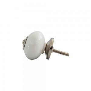 Puxador Luxuoso Cerâmica Branco com Metal Cromado 4x4x3,5 cm