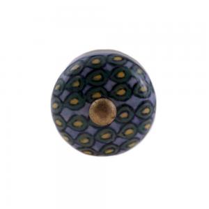 Puxador Cerâmica Decorado Geométrico 3x3x8cm