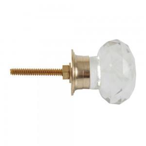 Puxador Vidro Lapidado Circular c/ Metal 3,5X3,5X3,5 cm