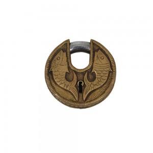 Cadeado Decorativo Redondo em Metal Bronze Personalizado A8xD10xL2 cm