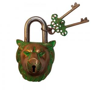 Cadeado Decorativo de Leão c/ Detalhes Verdes e Chaves em Metal Bronze 8,5x14 cm