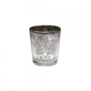 Cachepot de Vidro Metalizado Decorado Prata A7,5xD6cm