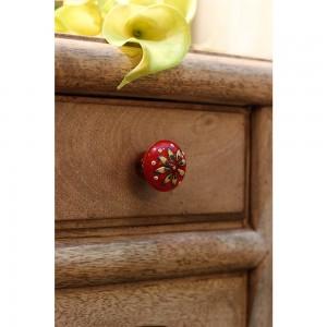 Puxador Resina c/ Flor Pintado a Mão Vermelho 4X4X3 cm