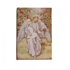 Caixa Livro Retangular em Madeira com Estampa Anjo Segurando Bebê A2,8xC13,5xL9,5 cm
