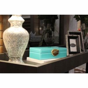 Caixa Decorativa de Vidro Retangular Turquesa c/ Fecho em Pedra A8xC29xL12 cm