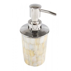 Porta Sabonete Liquido em Madrepérola e Metal A15xD7 cm