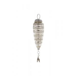 Enfeite Natalino para Pendurar Formato Cone em Vidro Metalizado c/ Penduricalhos e Aljofre A10xL6 cm