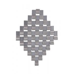 Quadro Decorativo Formato Losango Quadriculado Prata A82xL64xE7 cm