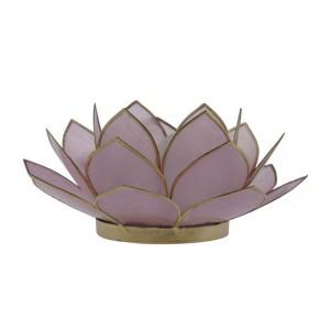 Suporte Flor Lotus p/ Vela Madrepérola Lilás A5xD12 cm