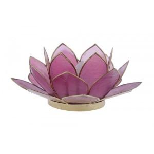 Suporte Flor Lotus p/ Vela Madrepérola Lilas 7X7X15CM