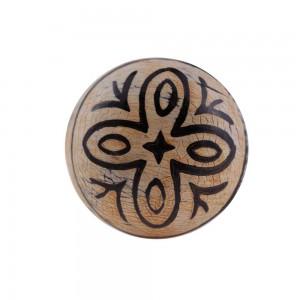 Puxador Decorativo Tribal Marrom Preto Desenhado em Madeira