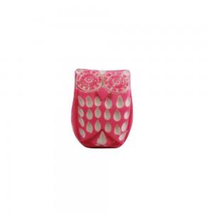 Puxador Resina Coruja Rosa 3x3x4 cm